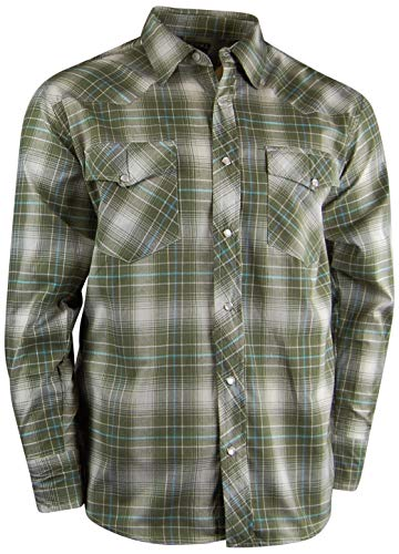 Casual Country Men's Snap-Front Western Plaid Shirt (X-Large, Olive)