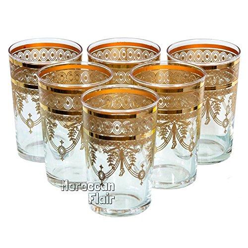 Moroccan Tea Glasses Set Of 6 Gold Buy Online In Uae