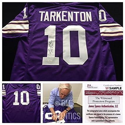 488ed2b6 Fran Tarkenton Minnesota Vikings Signed Autograph Purple Jersey. JSA COA