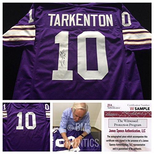 Fran Tarkenton Minnesota Vikings Signed Autograph Purple Jersey JSA COA