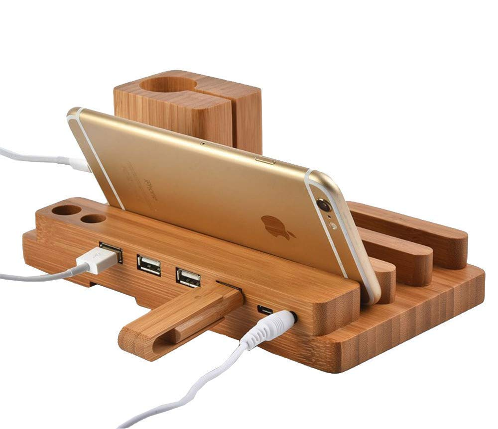 4 in 1 Creative Wooden Apple Watch Stand, PhantomSky Premium Quality Handmade Natural Wood Bracket Docking Station Holder for Apple Watch / iPhone / iPad / Android by PhantomSky