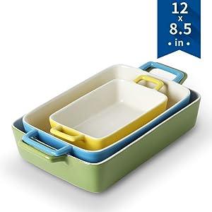 KOOV Bakeware Set, Ceramic Baking Dish, Rectangular Baking Pans for Cooking, Cake Dinner, Kitchen, Wrapping Upgrade, 12 x 8.5 Inches, 3-Piece (Colorful)