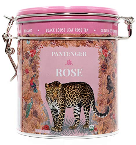 (Rose Tea Loose Leaf -3.5 OZ- Rose Tea Organic. Tea Blends Loose Leaf - Finest Moroccan Rose Petals and Ceylon OP Black Tea Leaves from Uva. Pantenger Organic Tea Blend. Floral Black Rose Tea.)