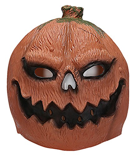 Maze Cute Funny Colorful Eclectic Animals Full Face Latex Festive Masks, PumpkinLantern One Size ()