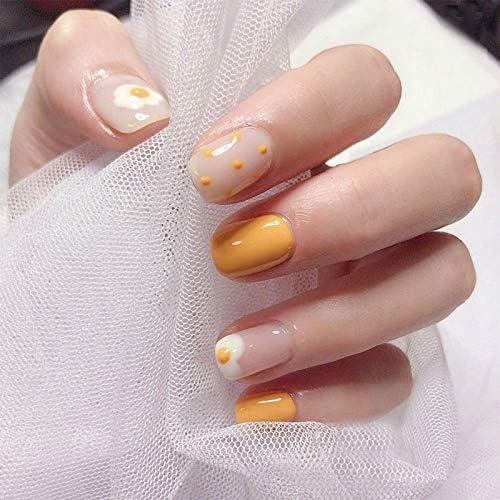 Qulin - Uñas postizas de mango amarillo puro color huevo escalfado ...
