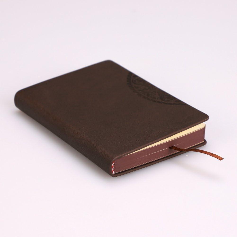 Lote de 2 cuadernos de piel artificial, tamaño A7, para oficina, escuela, reunión, cuaderno de notas, portátil, regalo de Navidad, cumpleaños, reentrada para niños y adultos, color café A7
