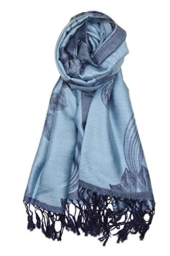 Achillea Two Tone Floral Roses Reversible Pashmina Scarf Shawl Wrap Stole 78' x 27' (Steel Blue)