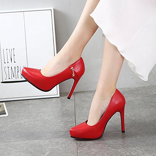 KPHY-Rot Hochzeit Schuhe fallen in die neue Spitze des Wasser Tabelle Tabelle Wasser der Fünf-punkte-Star Metall Dekoration ist fein mit Singles die High-Heel Schuhe Frauen 2a94ca
