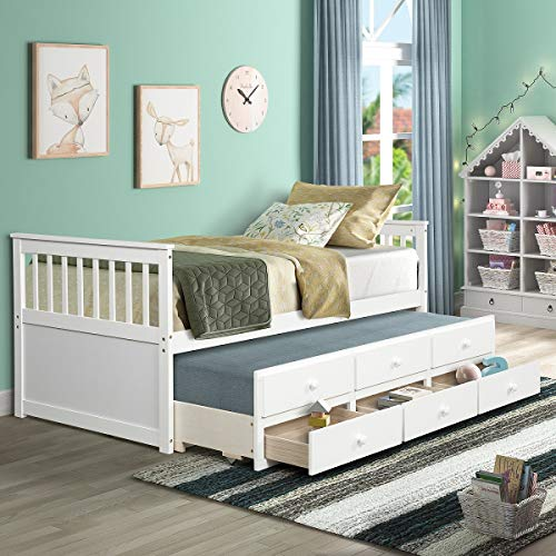 Rhomtree Storage Twin Bed with Trundle and Drawers Wood Daybed Captain