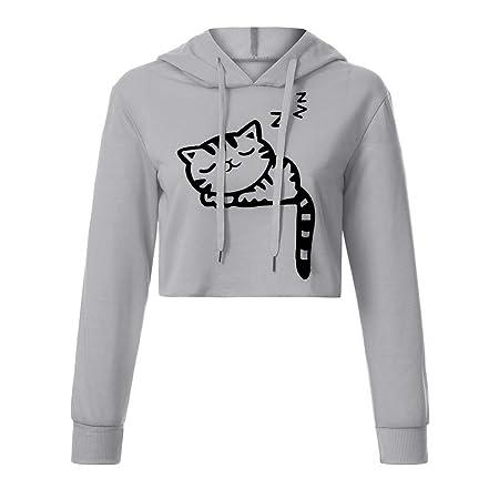 Amazon.com : CCSDR Long Sleeve Hoodies Women Clearance Sale 2018 New Casual Softball Sweatshirts Women Sexy Casual Long Sleeve Cat Kitty Print Short Hoodies ...
