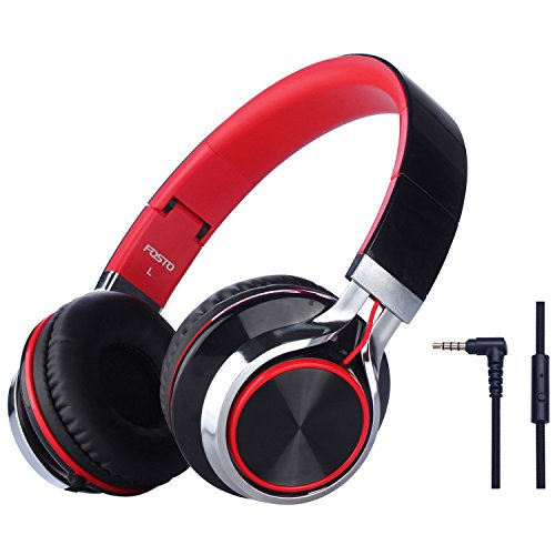 Headphones, FOSTO FT58 Stereo Folding Headset Strong Low Bass Headphones with Microphone for iPhone, All Android Smartphones, PC, Laptop, Mp3/mp4, Tablet Earphones (Red/Black)