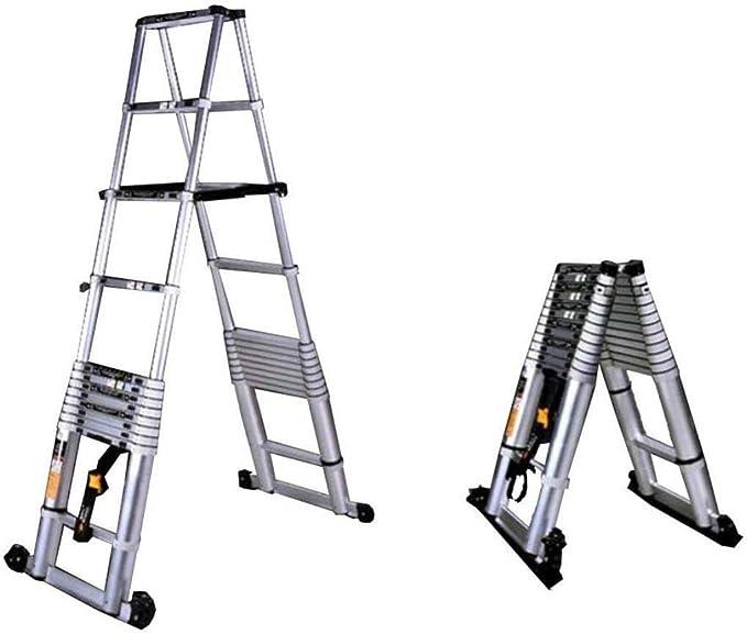 IVNZEI Escalera telescópica 3.8M 10.5FT extensión Plegable Plegable - Multi Propósito Escalera Aluminio DIY Individual Estilo Recto Suba Escalera telescópica Extensible Pasos 330 Libras / 150: Amazon.es: Hogar
