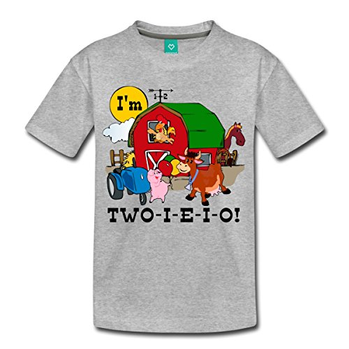 Spreadshirt Second Birthday Two-I-E-I-O Toddler Premium T-Shirt, Youth 2T, Heather Gray -