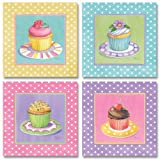 Cupcake Kitchen Decor WallsThatSpeak 4 Cute Colorful Cupcakes Art Prints Pastel Baking Kitchen Decor Paul Brent, 8 by 8-Inch, Pink/Yellow/Blue/Lavender Pastels