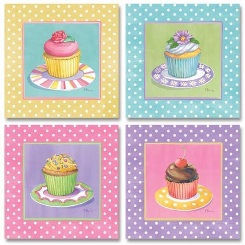 Wallsthatspeak 4 Cute Colorful Cupcakes Art Prints Pastel Baking Kitchen Decor Paul Brent 8 By 8 Inch Pink Yellow Blue Lavender Pastels