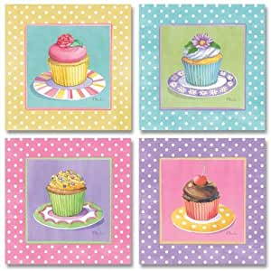 cupcake kitchen accessories decor wallsthatspeak 4 colorful cupcakes 6323