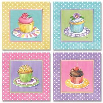 Wallsthatspeak 4 Cute Colorful Cupcakes Art Prints Pastel Baking Kitchen Decor Paul Brent 8 By