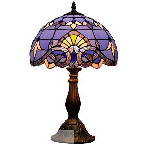 Tiffany style table lamp light S003C series 18 inch tall purple-blue Baroque shade