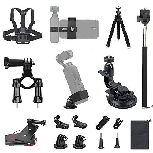 InBestOne Expansion Accessories Kit for DJI Osmo Pocket with Phone Bracket Holder+Adapter Bracket+Chest Strap+Bicycle Handlebar Mount+Backpack Clip+Suction Cup Mount+Tripod Holder + Selfie Stick