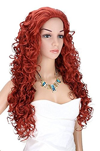 Kalyss Long Fox Red Wigs for Women Heat Resistant Curly Wavy Synthetic Fiber Cosplay Costume Full Hair Wig For Women,24 inches 0.66lb -