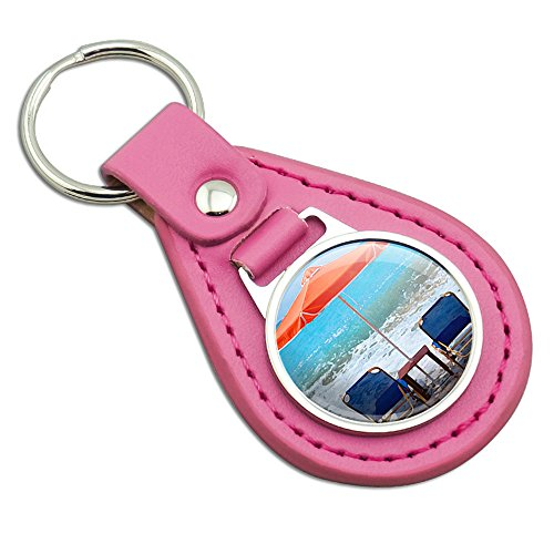 Beach Chair Ocean Vacation Pink Leather Metal Keychain Key - Ocean Chair Leather