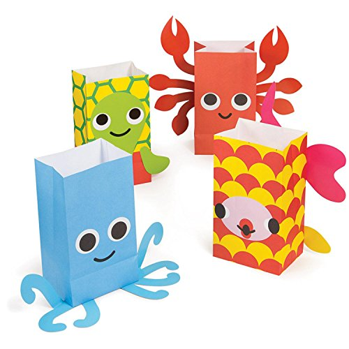 """Pack of 96 Juvi French Bull Ocean Paper Treat Bags with Attachments 8.5"""" by Party Central (Image #2)"""