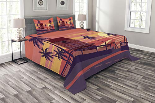 Ambesonne Island Party Bedspread Set King Size, Sunset by The Road with Palm Trees and House Sea Town Coastal Graphic, Decorative Quilted 3 Piece Coverlet Set with 2 Pillow Shams, Coral Eggplant