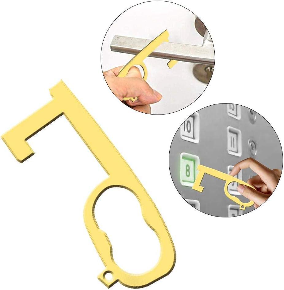 1PCS//2PCS Hygiene Hand Brass Door Opener Closer Stylus gaeruite EDC Door Opener Handheld Brass EDC Keychain Tool No Touch