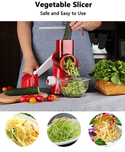 Manual Hand Speedy Mandoline Slicer Pasta Salad Maker Vegetable Fruit Cutter Rotating Drum Cheese Grater Potato Tomato Food Slicer With 3 Round Stainless Steel Blades (Red) by Izenes (Image #3)