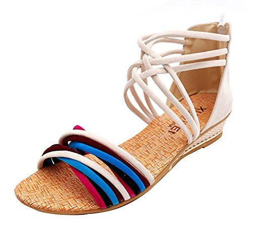 Minetom Damen Sommer Mode Boho Stil Sandals Keilabsatz Gladiator Schuhe Flache Ferse Offene Sandalen Weiß01