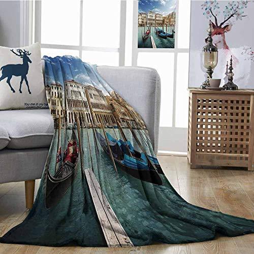 (Homrkey Decorative Throw Blanket Italian Gondolas in The Venetian Adriatic Lagoon Historical Venezia Photo Blue Sand Brown Almond Green Sofa Chair W60 xL80)
