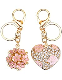 Flowers Ball Keychain and Sweet Love Heart Rose Flower Crystal Keyring, 2 Pieces