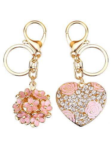 Mtlee Flowers Ball Keychain and Sweet Love Heart Rose Flower Crystal Keyring, 2 Pieces, Multicolor, - Enameled Gold Purse