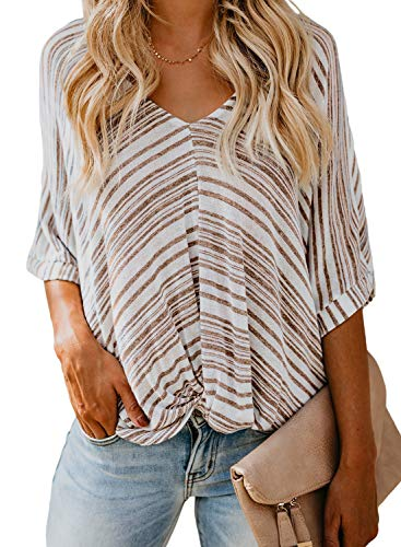 FARYSAYS Women's Tops Fashion Striped Shirts Basic Summer Twist Front Loose Batwing Short Sleeve V Neck Tops Blouses Apricot XX-Large