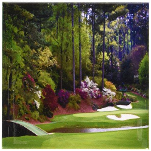 3dRose cst_131410_3 Augustas Amen Corner Golf Course Golfers on Bridge Ceramic Tile Coaster (Set of 4) -