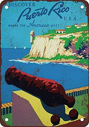 Metal Rico Puerto (Tengss Puerto Rico Travel Poster Vintage Look Reproduction Metal Tin Sign 8X12 Inches)