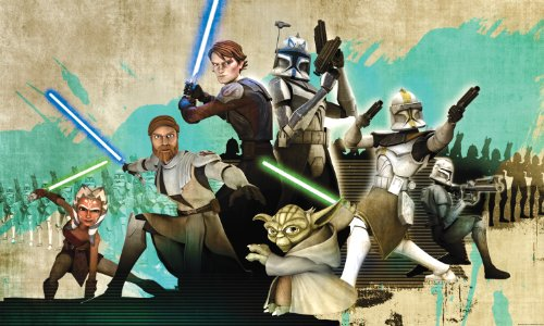 RoomMates JL1216M Star Wars Clone Wars Full Size Prepasted Wall Mural by RoomMates