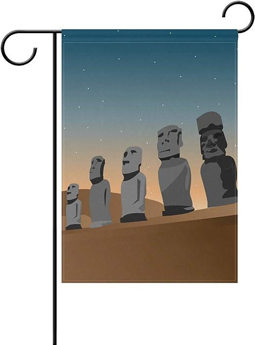 Buyxbn Estatua de Moai de Isla de Pascua de 12 x 18 Pulgadas Bandera de jardín de Doble Cara Casa Patio Interior al Aire Libre Decoración de Temporada, 12