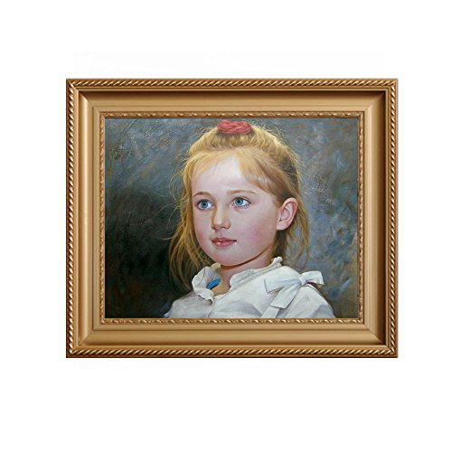 Custom Paingting Hand-Painted Oil Portraits on Canvas from Your Photos (20x24inch 1person, Framed-Gold ()