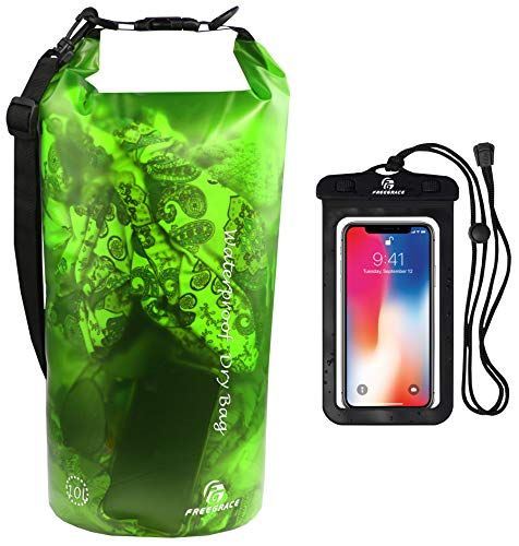 Waterproof Dry Bag - Transparent Lightweight Dry Sack with Strap, Seals and Waterproof Case - Float on Water - Keeps Gear Dry for Kayaking, Beach, Rafting, Boating, Hiking, Camping (Green) 10L