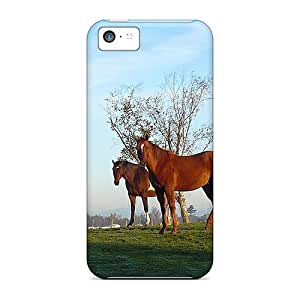 For AlexandraWiebe Iphone Protective Cases, High Quality For Iphone 5c Wednesday Morning Horses Skin Cases Covers