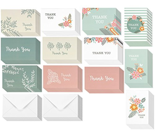Thank You Cards   96 Pack Thank You Notes  12 Assorted Colorful Designs For Her  Bulk Thank You Cards And Envelopes  4 X 6 Inches