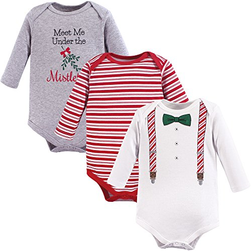 Baby Christmas Suit (Little Treasure Unisex Baby Cotton Bodysuits, Christmas Suspenders Long Sleeve 3 Pack, 0-3 Months)