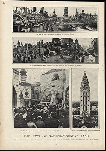 Coney Island Dreamland (Dreamland Coney Island Amusement Park New York City 1910 antique historic print)