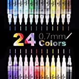 Acrylic Paint Pens, Extra Fine Point Acrylic Paint Markers, Quick Dry, Non Toxic, For Stone, Ceramic, Glass, Paper, Mugs, Wood, Fabric, Canvas, Vibrant Colors Extra Fine Tip 0.7mm (24 Colors)