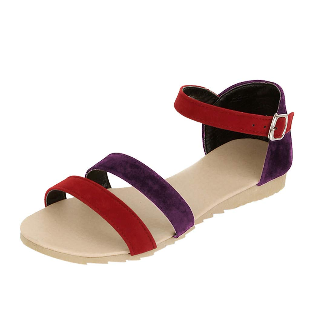 Women Gladiator Sandals Flock Open Toe Flat Thong Sandals Ankle Strap Buckle Contrast Color Sandals Casual Summer Outdoor Beach Shoes for Women /& Girls