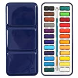 SODIAL(R) 24 Colors Portable Tin Box Solid Watercolor Paints Set For Artist School Student Drawing Painting Stationery Art Supplies 21.5x9.5x1.7cm