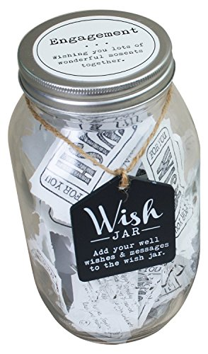 Top Shelf Engagement Wish Jar ; Unique Thoughtful Gift Ideas Friends Family ; Novelty Party Favor ; Kit Comes 100 Tickets Decorative Lid