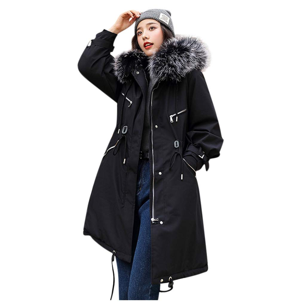 Cegduyi Women's Solid Color Hooded Long Button Cotton Jacket Long Sleeve Jacket Outerwear Faux Hooded Button Coat by Cegduyi_women coats