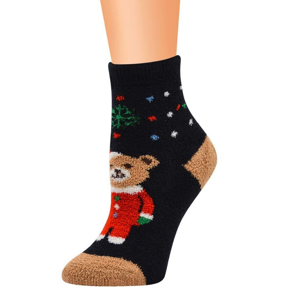 SUKEQ Womens Winter Fluffy Fuzzy Slipper Socks Anti Slip Christmas Deer Santa Claus Bear Cozy Socks 3D Printed Novelty Colorful Crew Socks for Women Girls (Black)